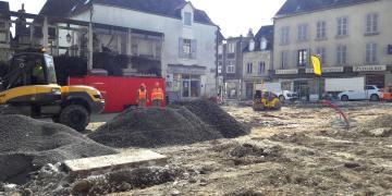 Place Da Maïa -  Installation de chantier et pose des réseaux secs et humides (27 février 2018)