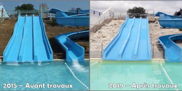 Avant/Après les travaux de rénovation : bassin ludique - paillage minéral des abords des toboggans